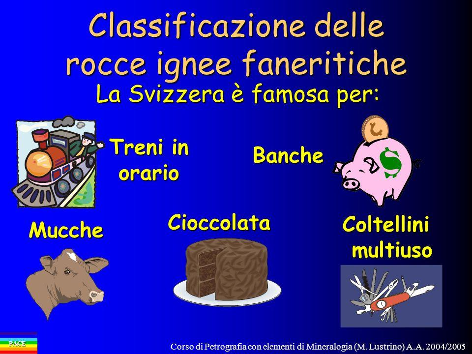 Corso di Petrografia con elementi di Mineralogia (M. Lustrino) A.A. 2004/2005 PACE Classificazione delle rocce ignee faneritiche La Svizzera è famosa