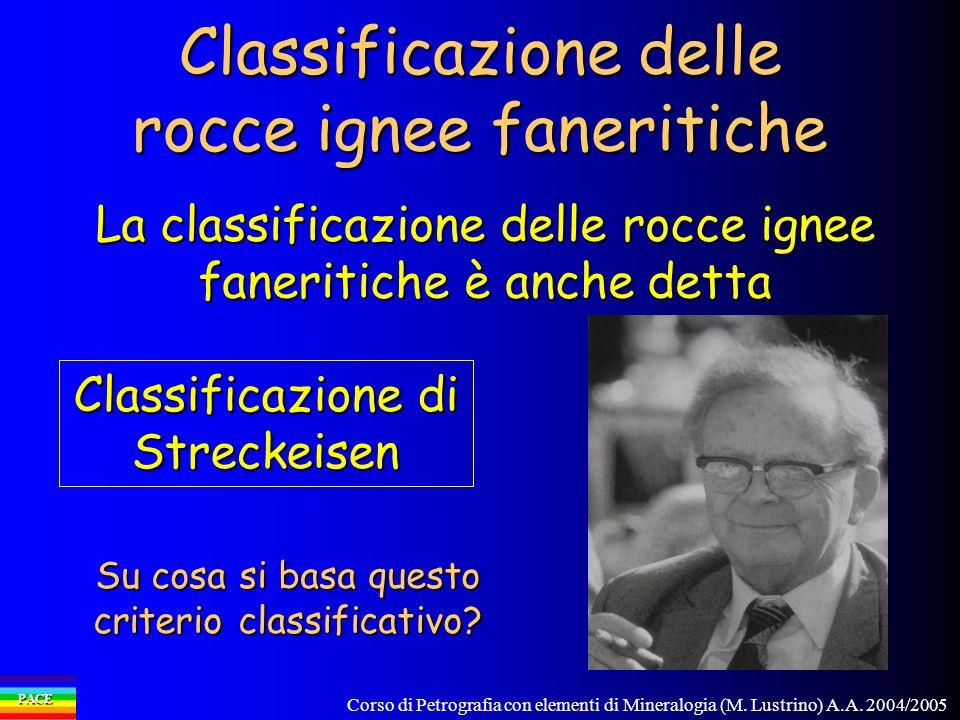 Corso di Petrografia con elementi di Mineralogia (M. Lustrino) A.A. 2004/2005 PACE Classificazione delle rocce ignee faneritiche La classificazione de