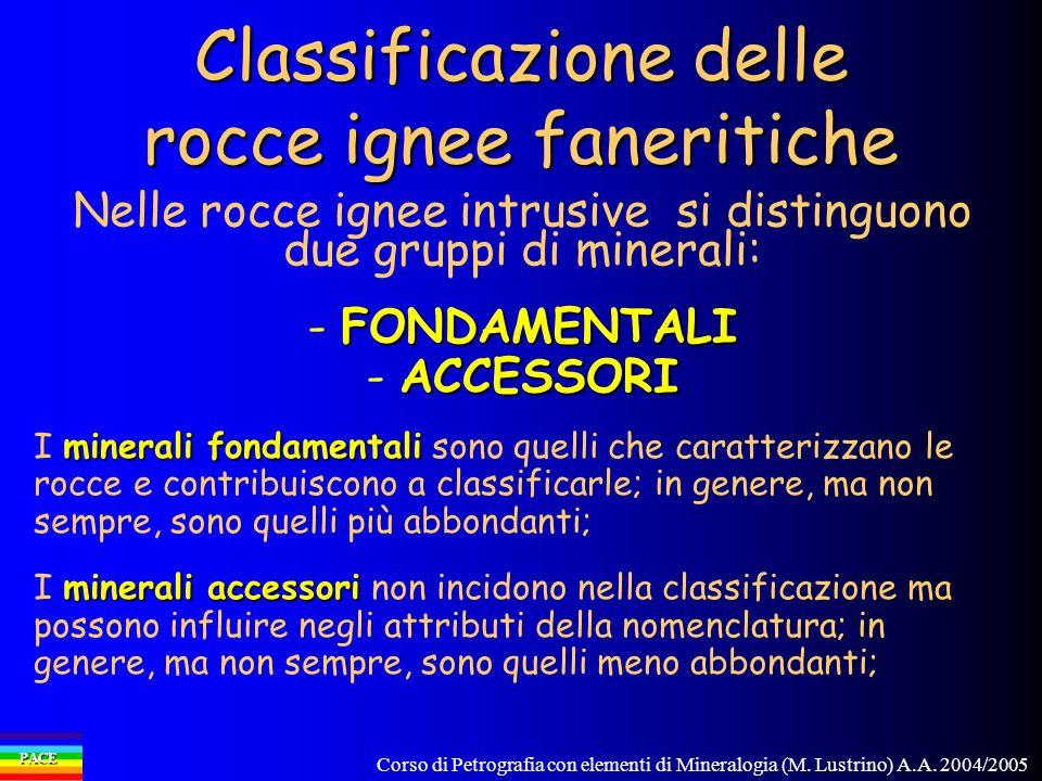 Corso di Petrografia con elementi di Mineralogia (M. Lustrino) A.A. 2004/2005 PACE Nelle rocce ignee intrusive si distinguono due gruppi di minerali: