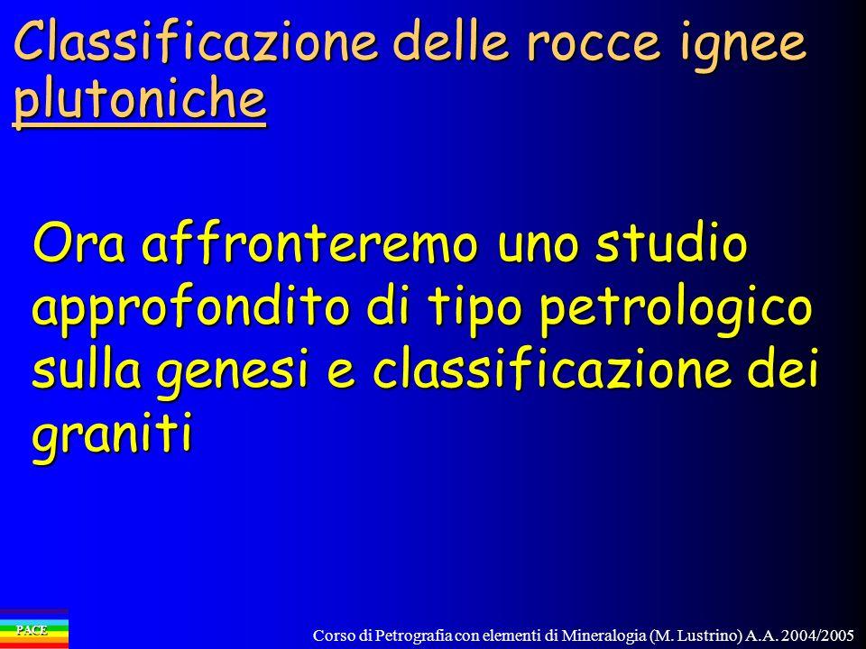 Corso di Petrografia con elementi di Mineralogia (M. Lustrino) A.A. 2004/2005 PACE Classificazione delle rocce ignee plutoniche Ora affronteremo uno s