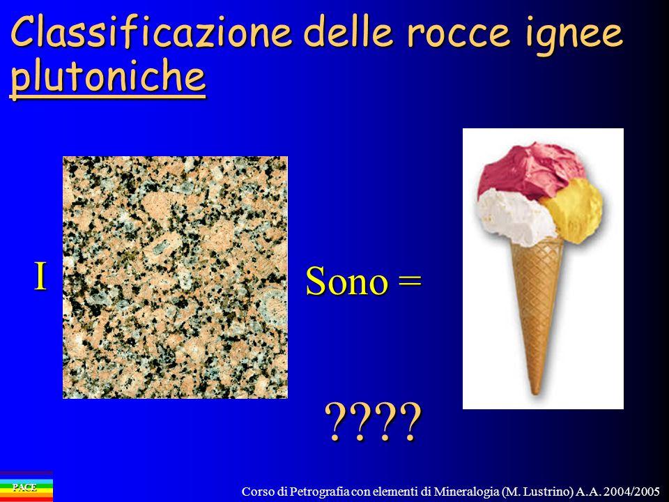 Corso di Petrografia con elementi di Mineralogia (M. Lustrino) A.A. 2004/2005 PACE Classificazione delle rocce ignee plutoniche I Sono = ????