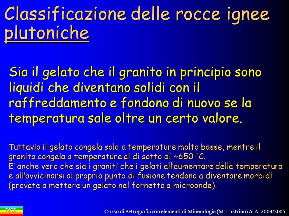 Corso di Petrografia con elementi di Mineralogia (M. Lustrino) A.A. 2004/2005 PACE Classificazione delle rocce ignee plutoniche Sia il gelato che il g