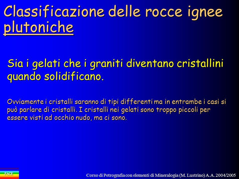 Corso di Petrografia con elementi di Mineralogia (M. Lustrino) A.A. 2004/2005 PACE Classificazione delle rocce ignee plutoniche Sia i gelati che i gra