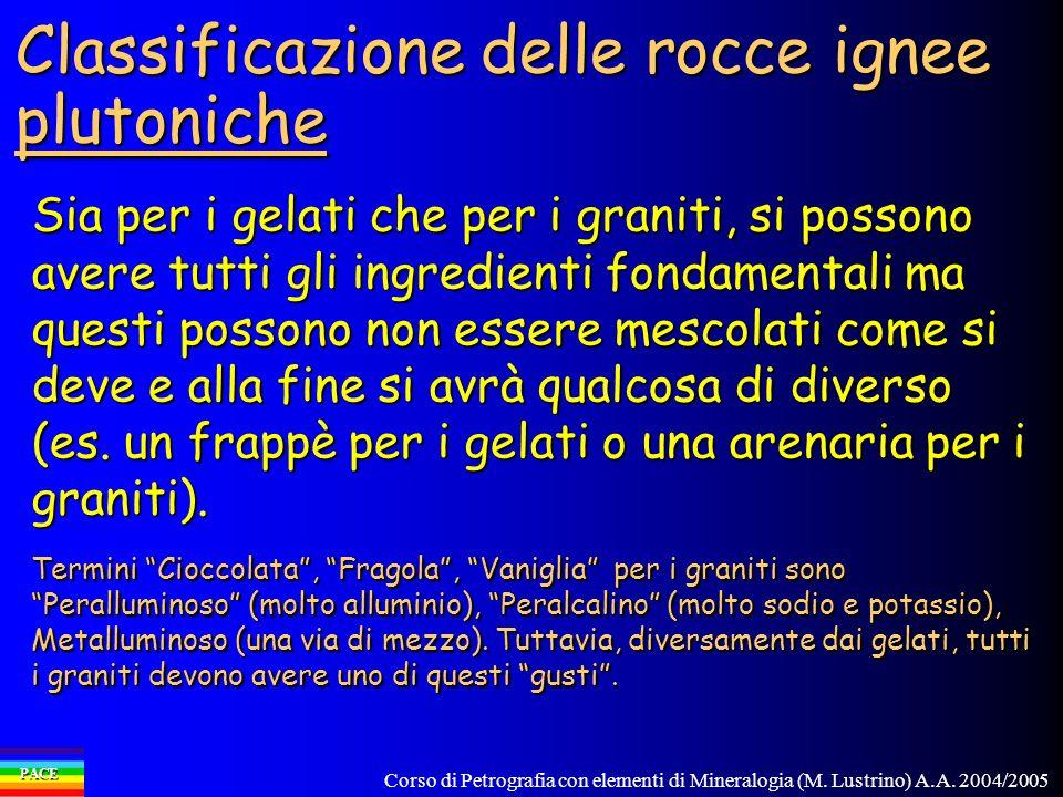 Corso di Petrografia con elementi di Mineralogia (M. Lustrino) A.A. 2004/2005 PACE Classificazione delle rocce ignee plutoniche Sia per i gelati che p