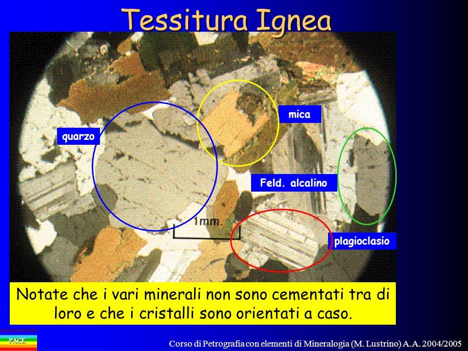 Corso di Petrografia con elementi di Mineralogia (M. Lustrino) A.A. 2004/2005 PACE Notate che i vari minerali non sono cementati tra di loro e che i c