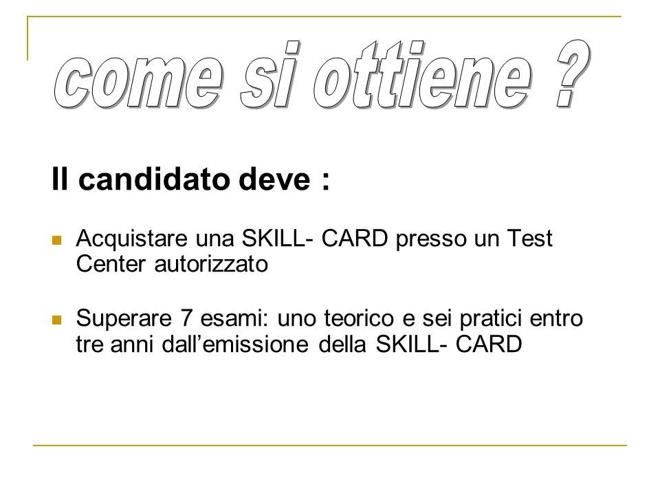 Il candidato deve : Acquistare una SKILL- CARD presso un Test Center autorizzato Superare 7 esami: uno teorico e sei pratici entro tre anni dallemissi