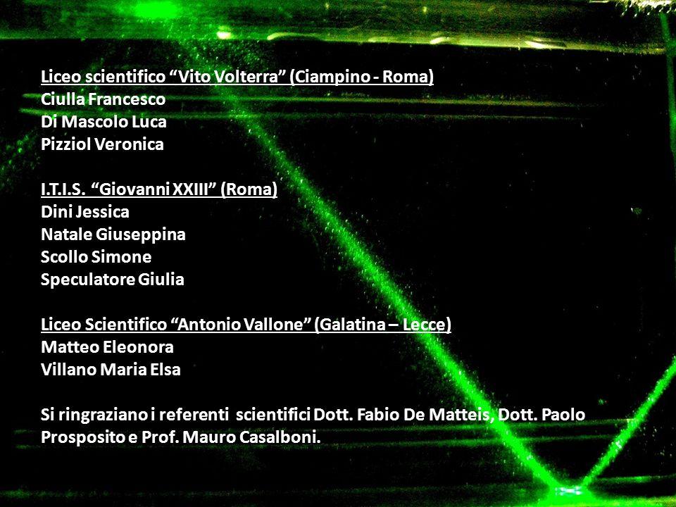 Liceo scientifico Vito Volterra (Ciampino - Roma) Ciulla Francesco Di Mascolo Luca Pizziol Veronica I.T.I.S. Giovanni XXIII (Roma) Dini Jessica Natale