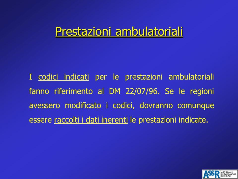 I codici indicati per le prestazioni ambulatoriali fanno riferimento al DM 22/07/96. Se le regioni avessero modificato i codici, dovranno comunque ess