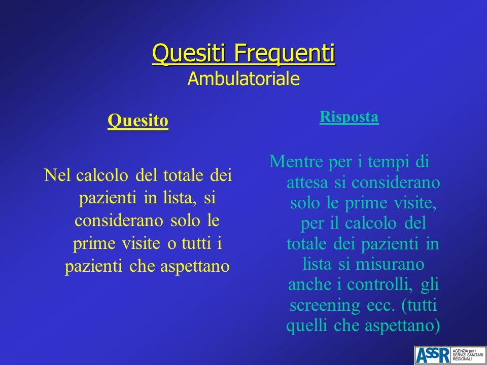 Quesiti Frequenti Quesiti Frequenti Ambulatoriale Quesito Nel calcolo del totale dei pazienti in lista, si considerano solo le prime visite o tutti i