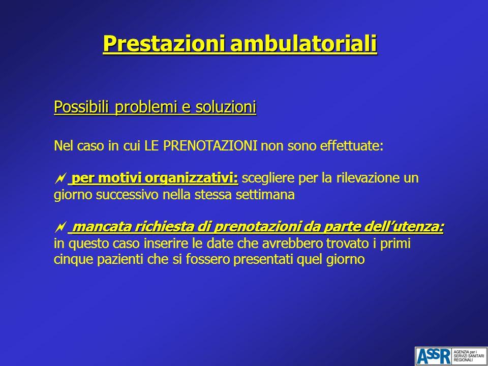 Prestazioni ambulatoriali Possibili problemi e soluzioni Nel caso in cui LE PRENOTAZIONI non sono effettuate: per motivi organizzativi: per motivi org