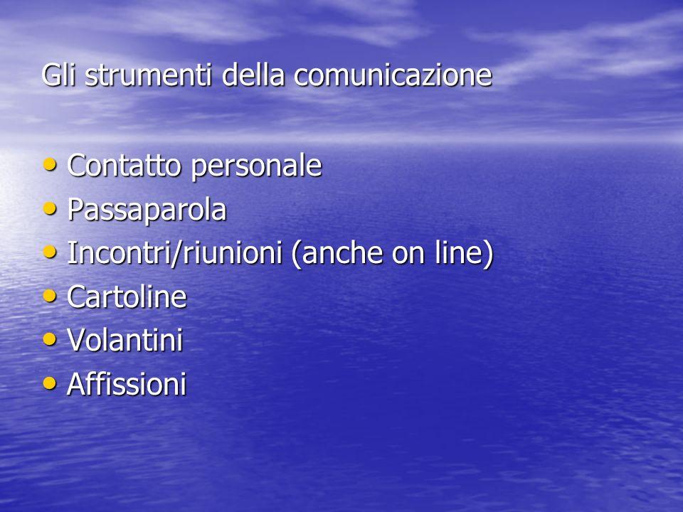 Gli strumenti della comunicazione Contatto personale Contatto personale Passaparola Passaparola Incontri/riunioni (anche on line) Incontri/riunioni (anche on line) Cartoline Cartoline Volantini Volantini Affissioni Affissioni