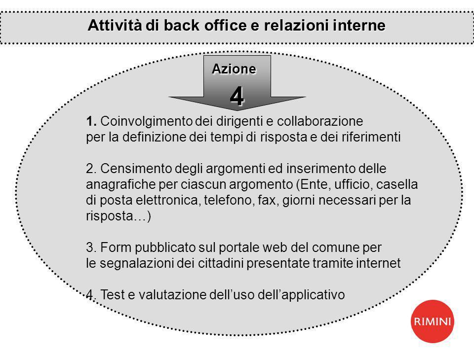1. Coinvolgimento dei dirigenti e collaborazione per la definizione dei tempi di risposta e dei riferimenti 2. Censimento degli argomenti ed inserimen