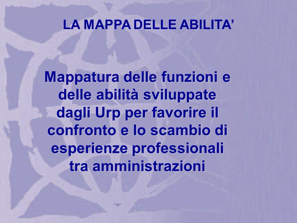 Mappatura delle funzioni e delle abilità sviluppate dagli Urp per favorire il confronto e lo scambio di esperienze professionali tra amministrazioni LA MAPPA DELLE ABILITA