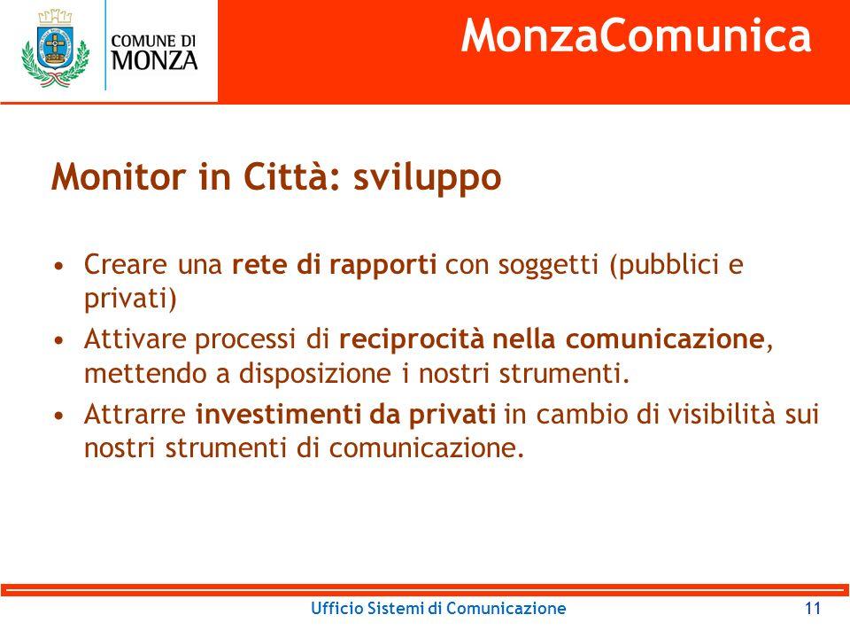 Ufficio Sistemi di Comunicazione11 MonzaComunica Monitor in Città: sviluppo Creare una rete di rapporti con soggetti (pubblici e privati) Attivare processi di reciprocità nella comunicazione, mettendo a disposizione i nostri strumenti.