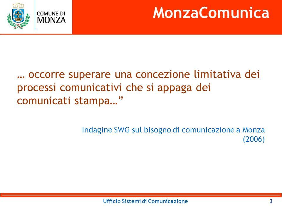 Ufficio Sistemi di Comunicazione4 MonzaComunica A Monza e in Brianza mancano: Quotidiano locale, Radio locale.