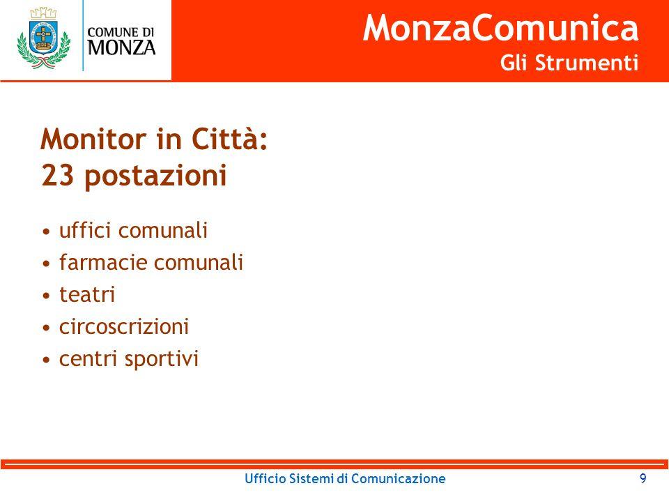 Ufficio Sistemi di Comunicazione9 MonzaComunica Gli Strumenti Monitor in Città: 23 postazioni uffici comunali farmacie comunali teatri circoscrizioni centri sportivi