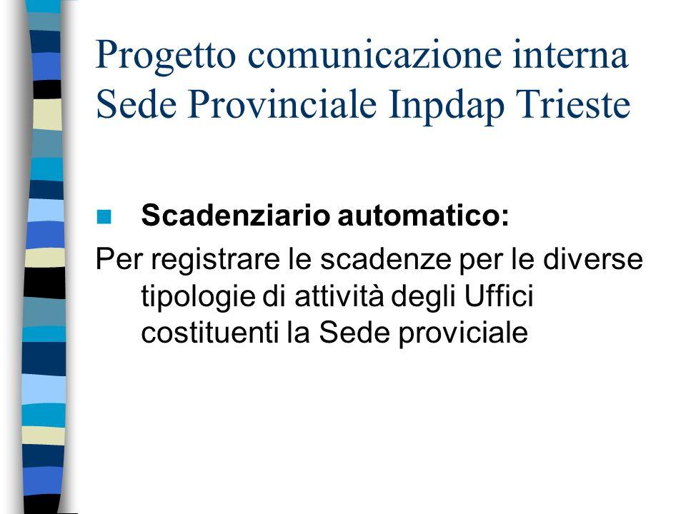 Progetto comunicazione interna Sede Provinciale Inpdap Trieste Scadenziario automatico: Per registrare le scadenze per le diverse tipologie di attività degli Uffici costituenti la Sede proviciale