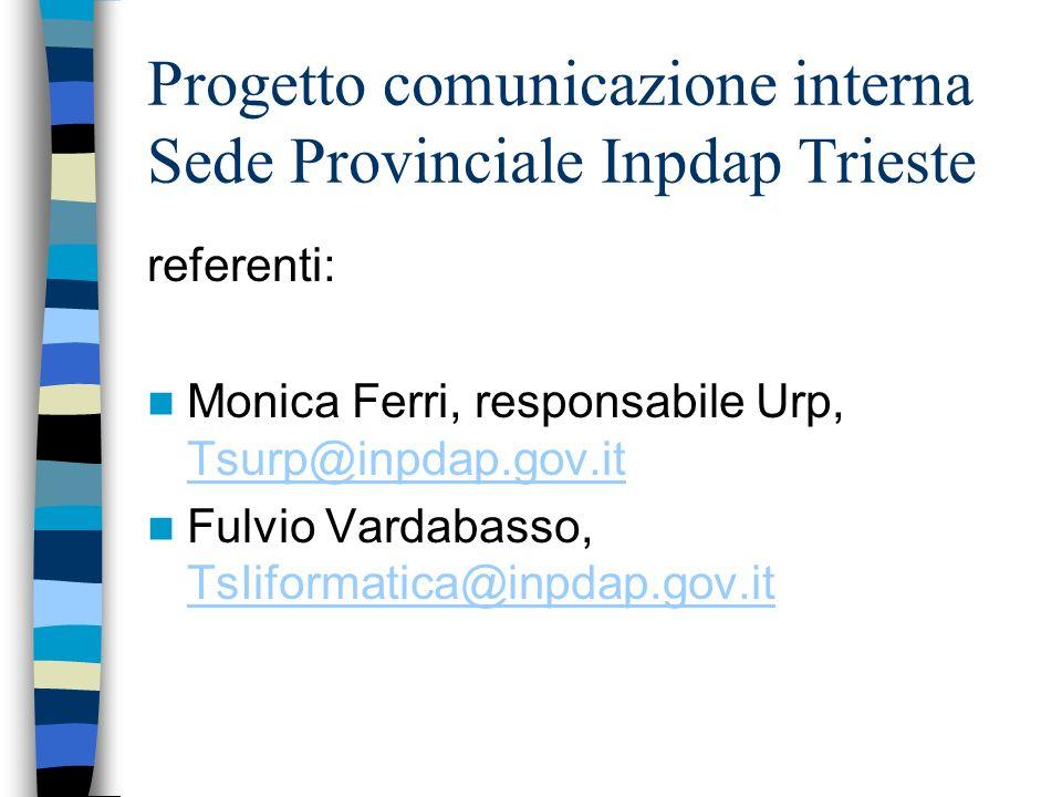Progetto comunicazione interna Sede Provinciale Inpdap Trieste referenti: Monica Ferri, responsabile Urp, Tsurp@inpdap.gov.it Tsurp@inpdap.gov.it Fulvio Vardabasso, TsIiformatica@inpdap.gov.it TsIiformatica@inpdap.gov.it