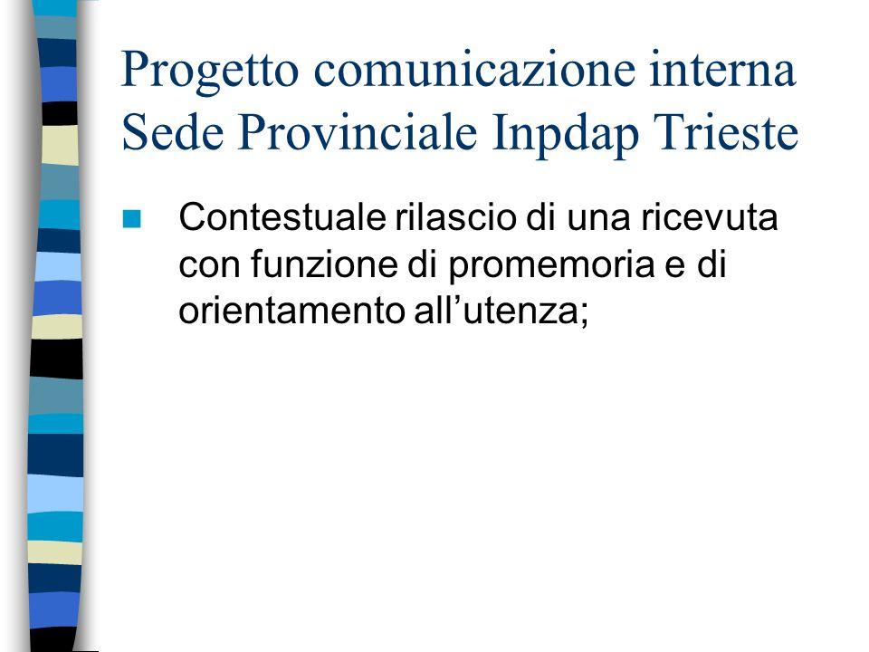 Progetto comunicazione interna Sede Provinciale Inpdap Trieste Contestuale rilascio di una ricevuta con funzione di promemoria e di orientamento allutenza;
