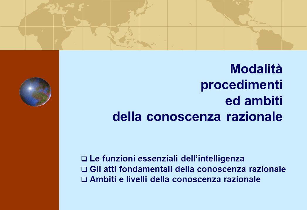 Modalità procedimenti ed ambiti della conoscenza razionale Le funzioni essenziali dellintelligenza Gli atti fondamentali della conoscenza razionale Ambiti e livelli della conoscenza razionale