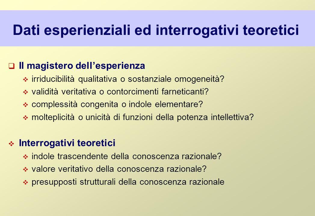 Dati esperienziali ed interrogativi teoretici Il magistero dellesperienza irriducibilità qualitativa o sostanziale omogeneità? validità veritativa o c