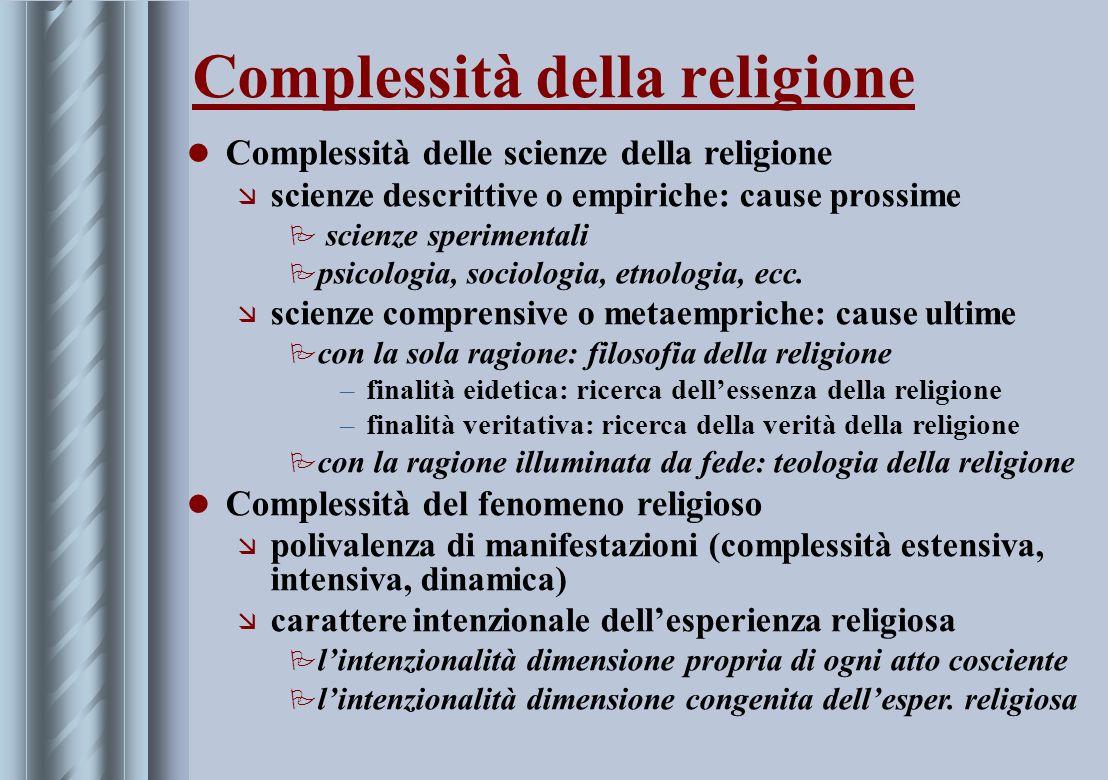 Complessità della religione Complessità delle scienze della religione æ scienze descrittive o empiriche: cause prossime P scienze sperimentali P psico