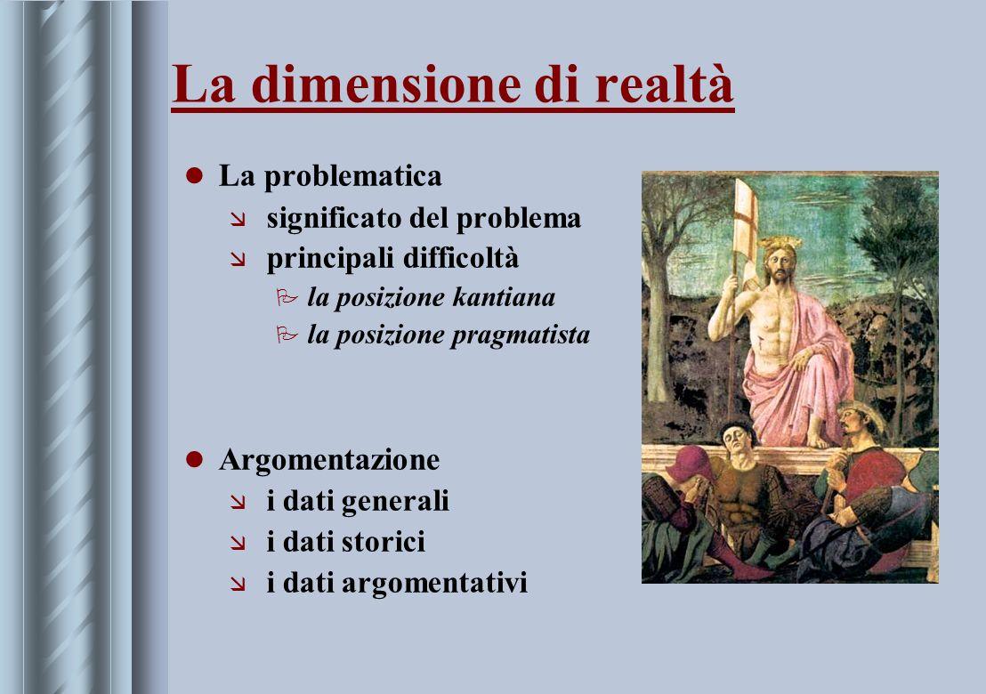 La dimensione di realtà La problematica æ significato del problema æ principali difficoltà P la posizione kantiana P la posizione pragmatista Argoment