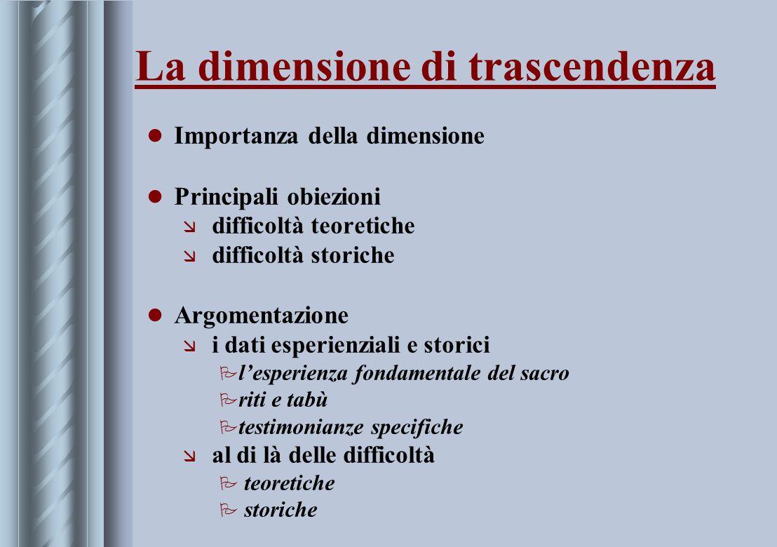 La dimensione di trascendenza Importanza della dimensione Principali obiezioni æ difficoltà teoretiche æ difficoltà storiche Argomentazione æ i dati e
