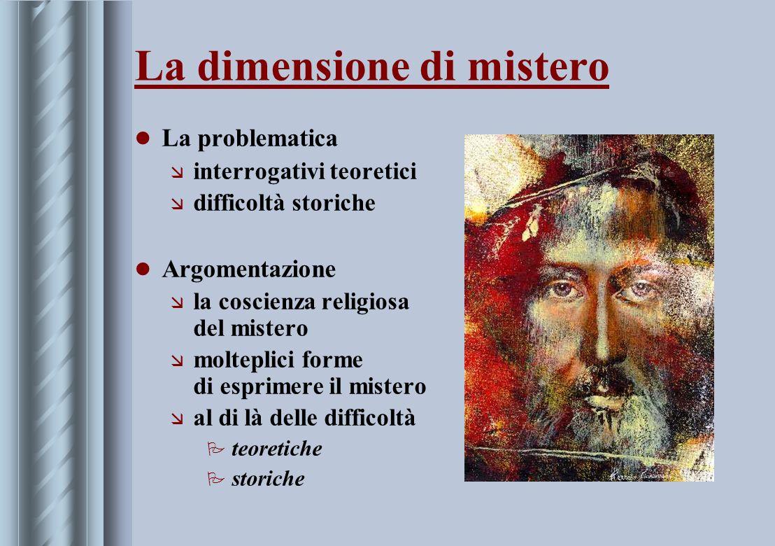 La dimensione di mistero La problematica æ interrogativi teoretici æ difficoltà storiche Argomentazione æ la coscienza religiosa del mistero æ moltepl