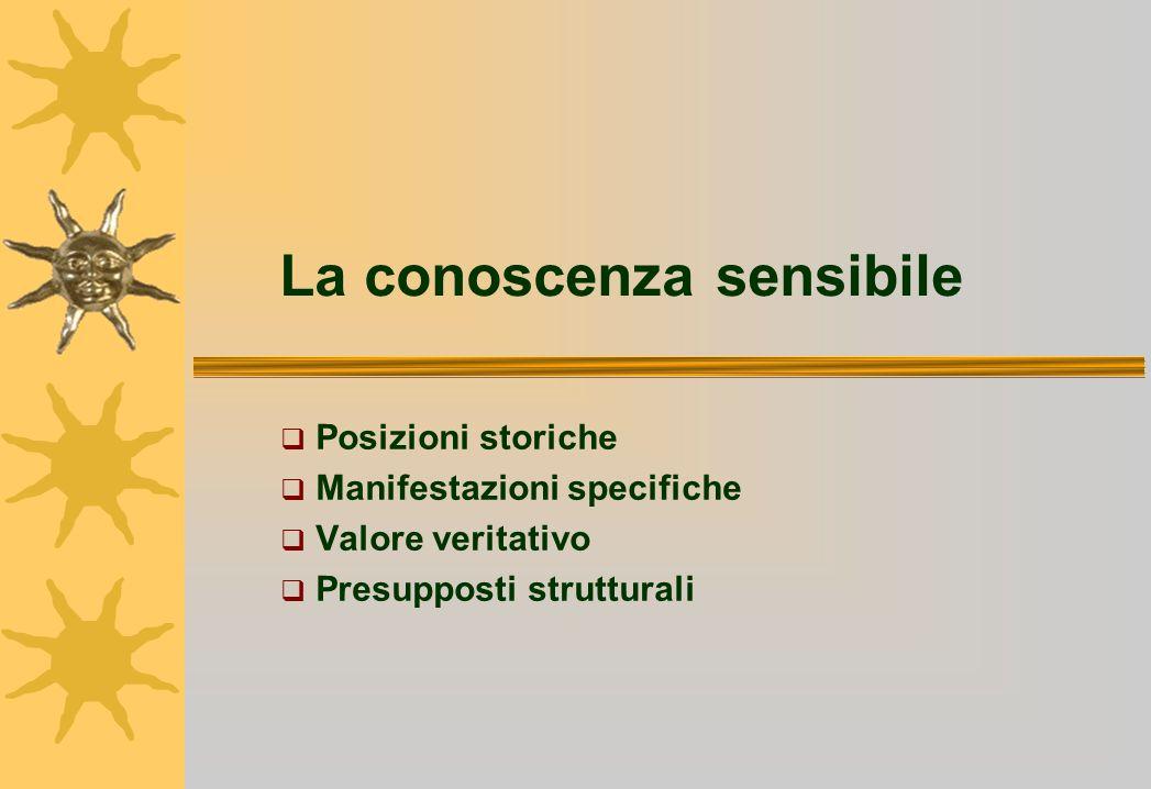 La conoscenza sensibile Posizioni storiche Manifestazioni specifiche Valore veritativo Presupposti strutturali