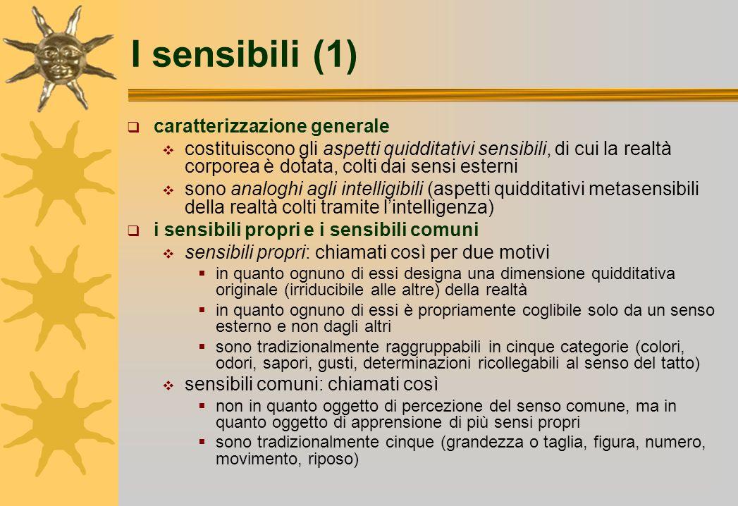 I sensibili (1) caratterizzazione generale costituiscono gli aspetti quidditativi sensibili, di cui la realtà corporea è dotata, colti dai sensi ester