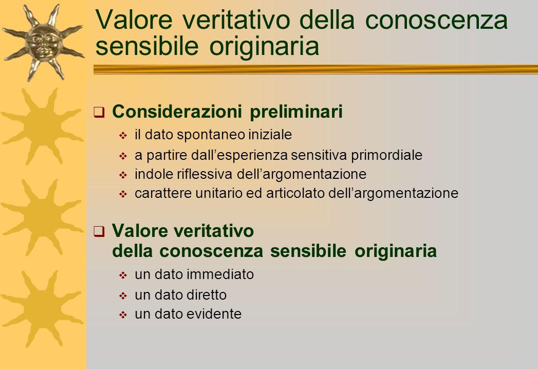 Valore veritativo della conoscenza sensibile originaria Considerazioni preliminari il dato spontaneo iniziale a partire dallesperienza sensitiva primo