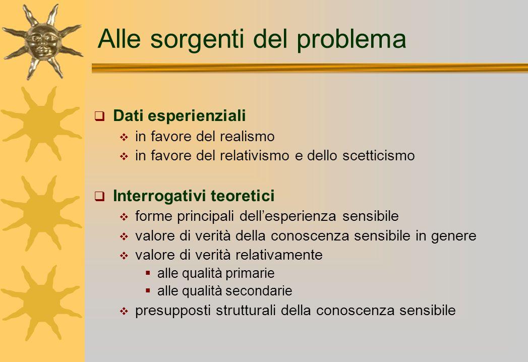 Alle sorgenti del problema Dati esperienziali in favore del realismo in favore del relativismo e dello scetticismo Interrogativi teoretici forme princ