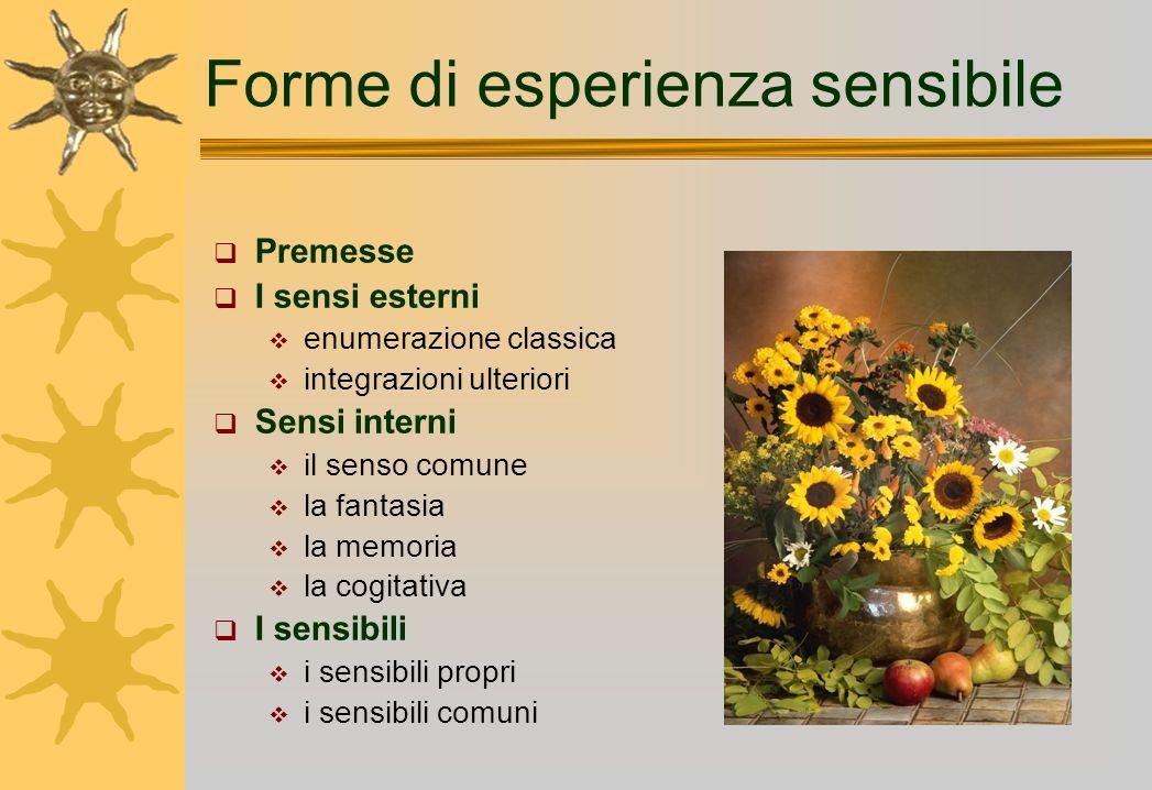 Forme di esperienza sensibile Premesse I sensi esterni enumerazione classica integrazioni ulteriori Sensi interni il senso comune la fantasia la memor
