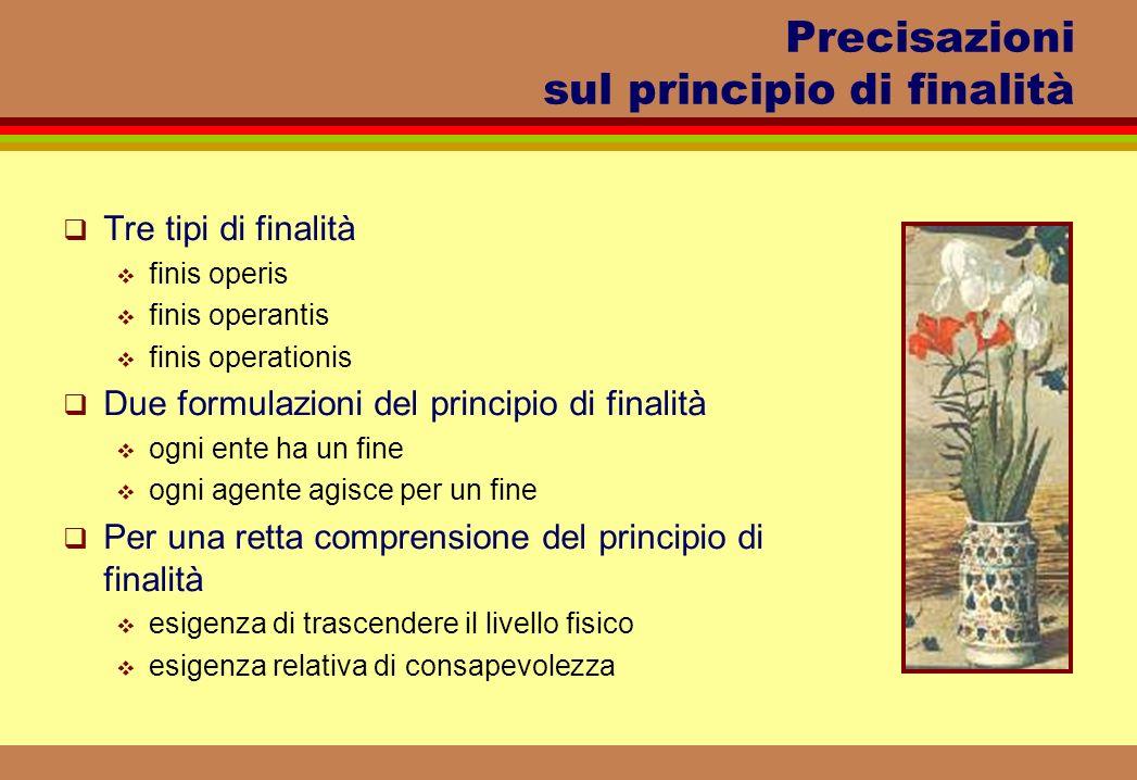 Precisazioni sul principio di finalità Tre tipi di finalità finis operis finis operantis finis operationis Due formulazioni del principio di finalità
