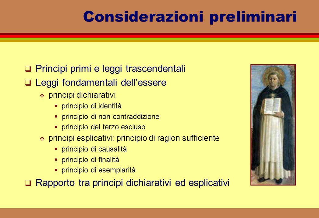 Considerazioni preliminari Principi primi e leggi trascendentali Leggi fondamentali dellessere principi dichiarativi principio di identità principio d