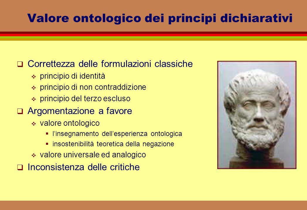 Valore ontologico dei principi dichiarativi Correttezza delle formulazioni classiche principio di identità principio di non contraddizione principio d