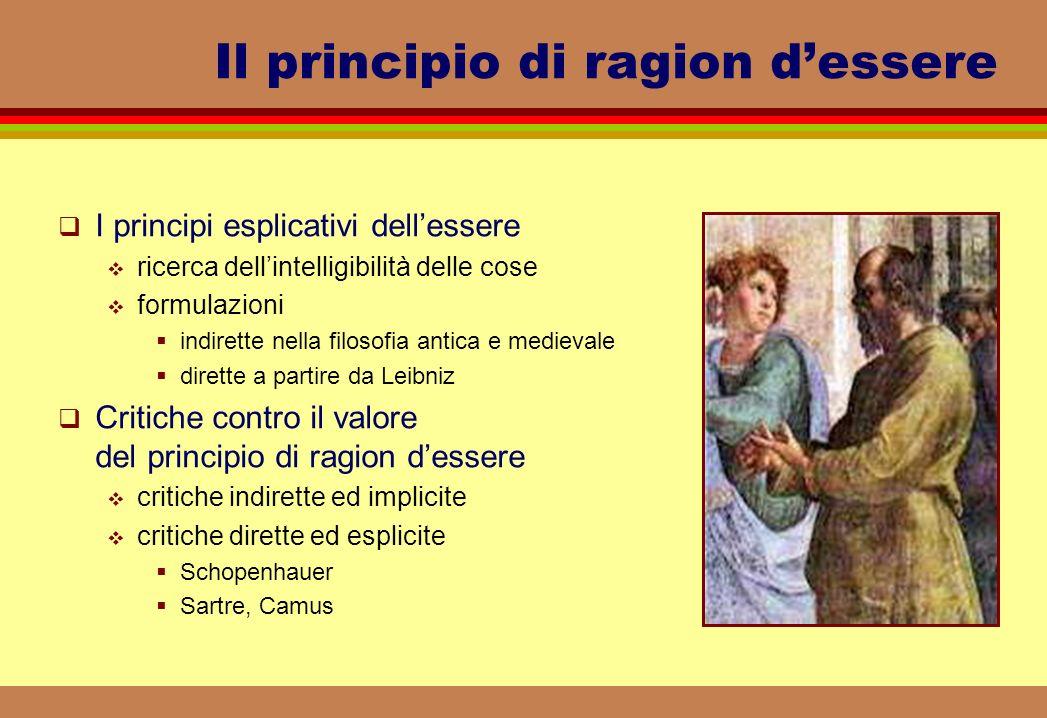 Il principio di ragion dessere I principi esplicativi dellessere ricerca dellintelligibilità delle cose formulazioni indirette nella filosofia antica
