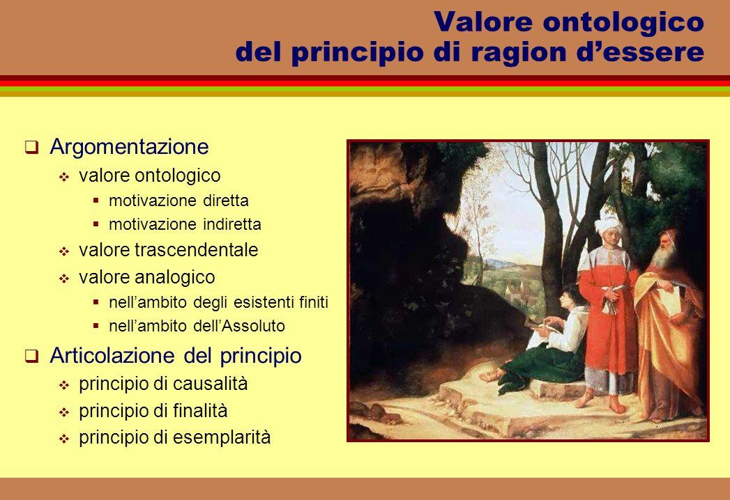 Valore ontologico del principio di ragion dessere Argomentazione valore ontologico motivazione diretta motivazione indiretta valore trascendentale val