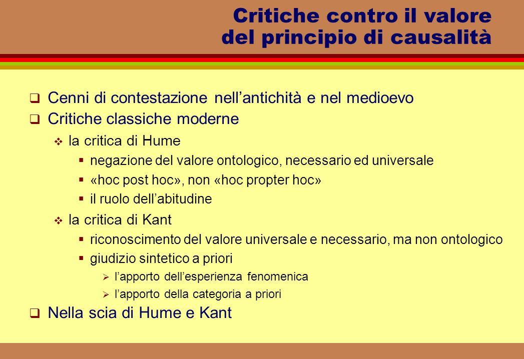 Critiche contro il valore del principio di causalità Cenni di contestazione nellantichità e nel medioevo Critiche classiche moderne la critica di Hume