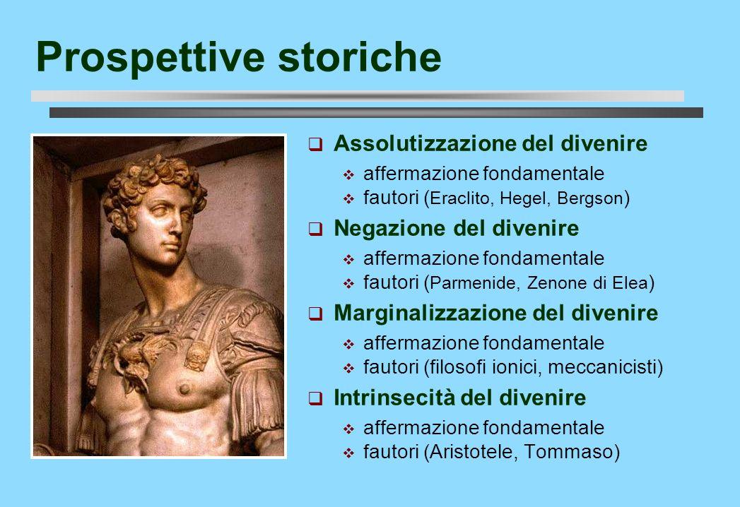 Prospettive storiche Assolutizzazione del divenire affermazione fondamentale fautori ( Eraclito, Hegel, Bergson ) Negazione del divenire affermazione