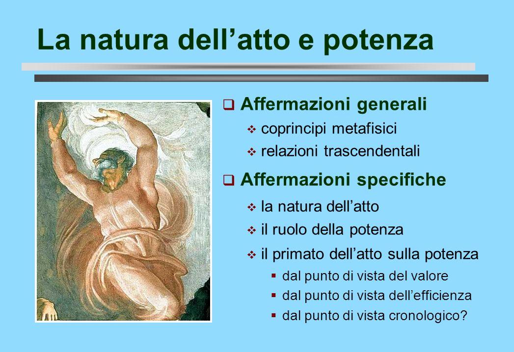 La natura dellatto e potenza Affermazioni generali coprincipi metafisici relazioni trascendentali Affermazioni specifiche la natura dellatto il ruolo