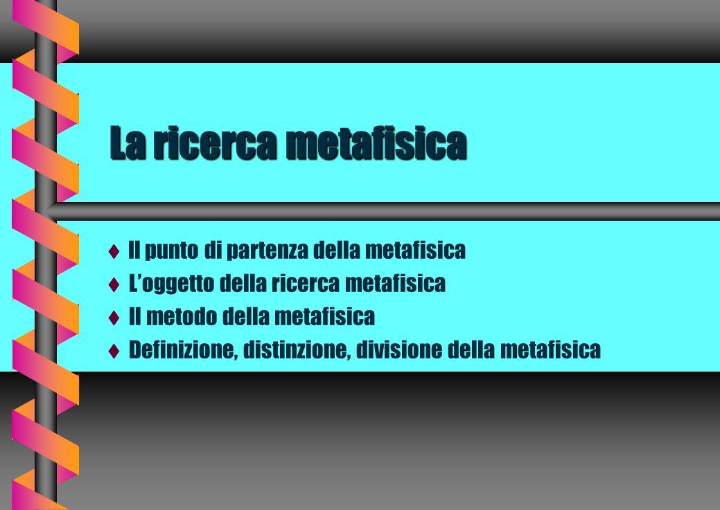 La ricerca metafisica Il punto di partenza della metafisica Loggetto della ricerca metafisica Il metodo della metafisica Definizione, distinzione, div