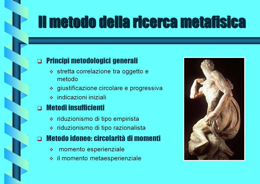 Il metodo della ricerca metafisica Principi metodologici generali stretta correlazione tra oggetto e metodo giustificazione circolare e progressiva in