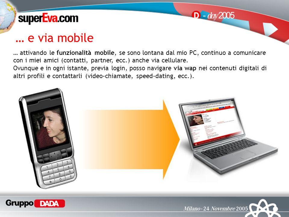 … e via mobile … attivando le funzionalità mobile, se sono lontana dal mio PC, continuo a comunicare con i miei amici (contatti, partner, ecc.) anche via cellulare.