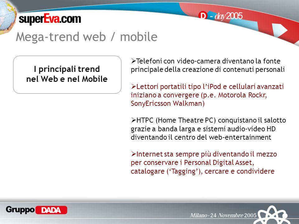 Mega-trend web / mobile Telefoni con video-camera diventano la fonte principale della creazione di contenuti personali Lettori portatili tipo liPod e cellulari avanzati iniziano a convergere (p.e.