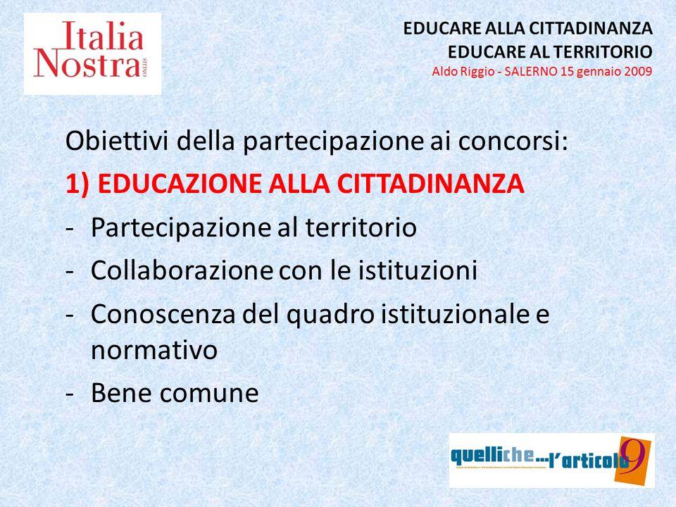 Obiettivi della partecipazione ai concorsi: 1) EDUCAZIONE ALLA CITTADINANZA -Partecipazione al territorio -Collaborazione con le istituzioni -Conoscen