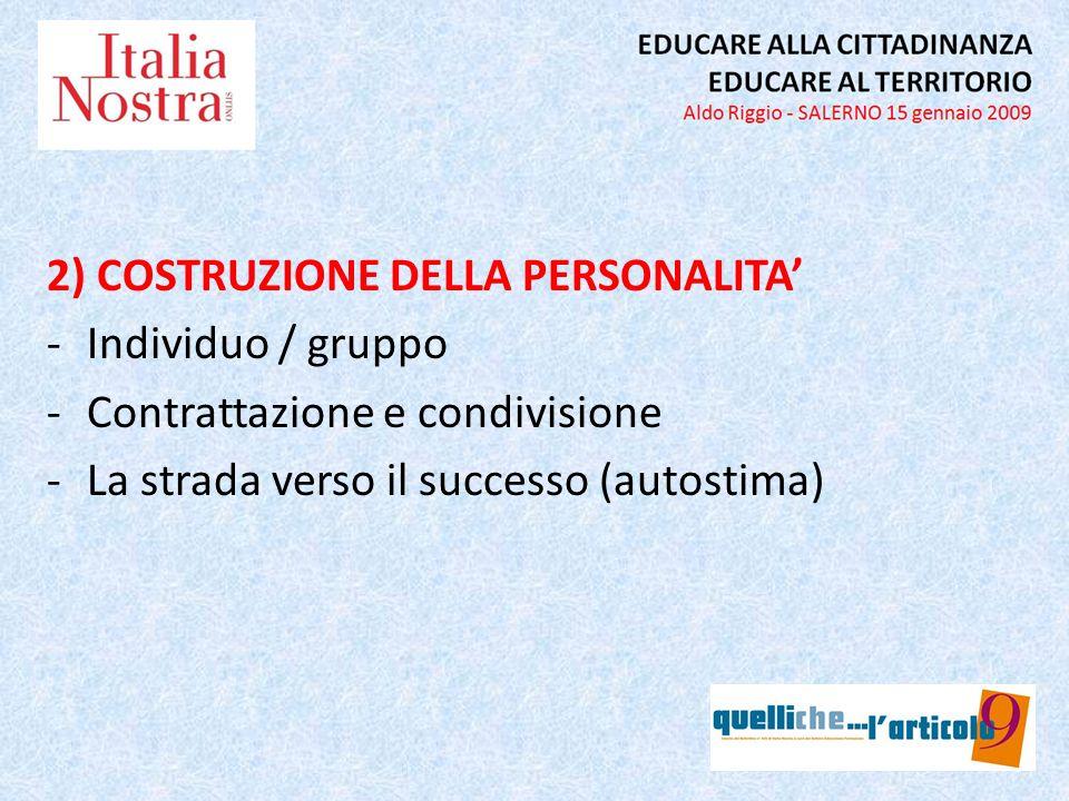 2) COSTRUZIONE DELLA PERSONALITA -Individuo / gruppo -Contrattazione e condivisione -La strada verso il successo (autostima)