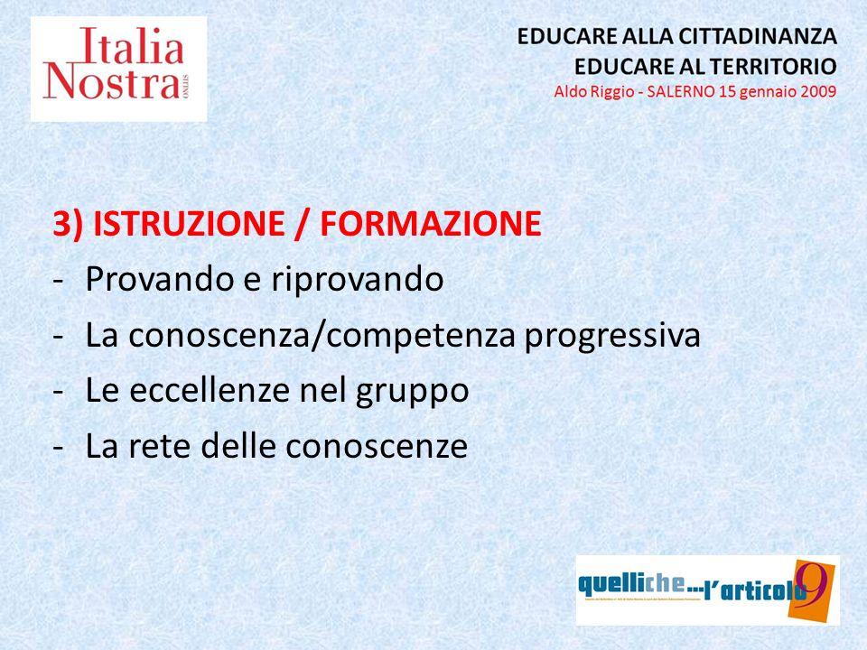 3) ISTRUZIONE / FORMAZIONE -Provando e riprovando -La conoscenza/competenza progressiva -Le eccellenze nel gruppo -La rete delle conoscenze