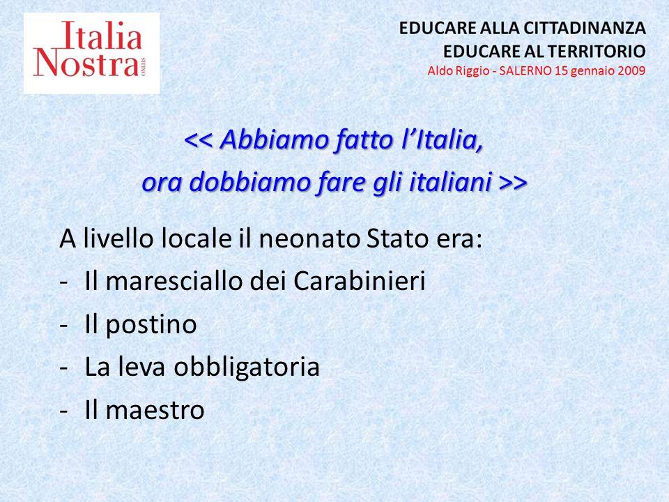 << Abbiamo fatto lItalia, ora dobbiamo fare gli italiani >> A livello locale il neonato Stato era: -Il maresciallo dei Carabinieri -Il postino -La lev